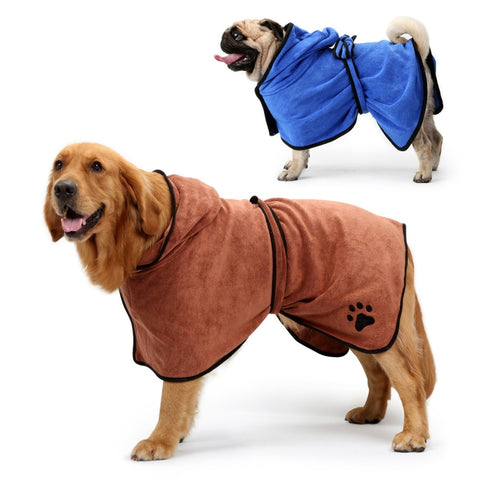 Dog microfiber bathrobe hooded