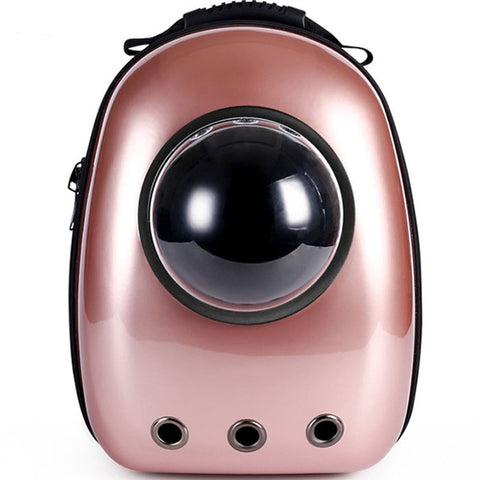 Pink space capsule pet backpack