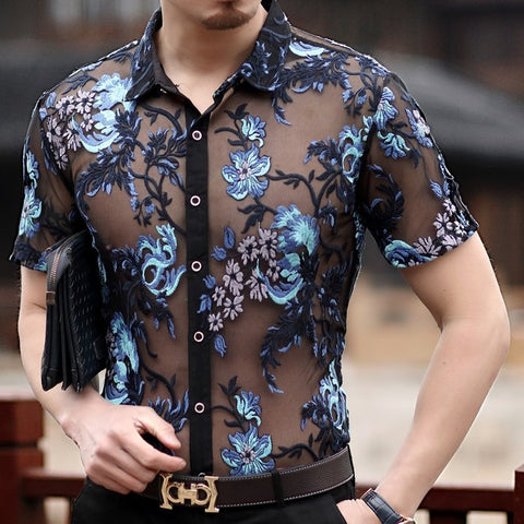 Transparent lace shirt for men
