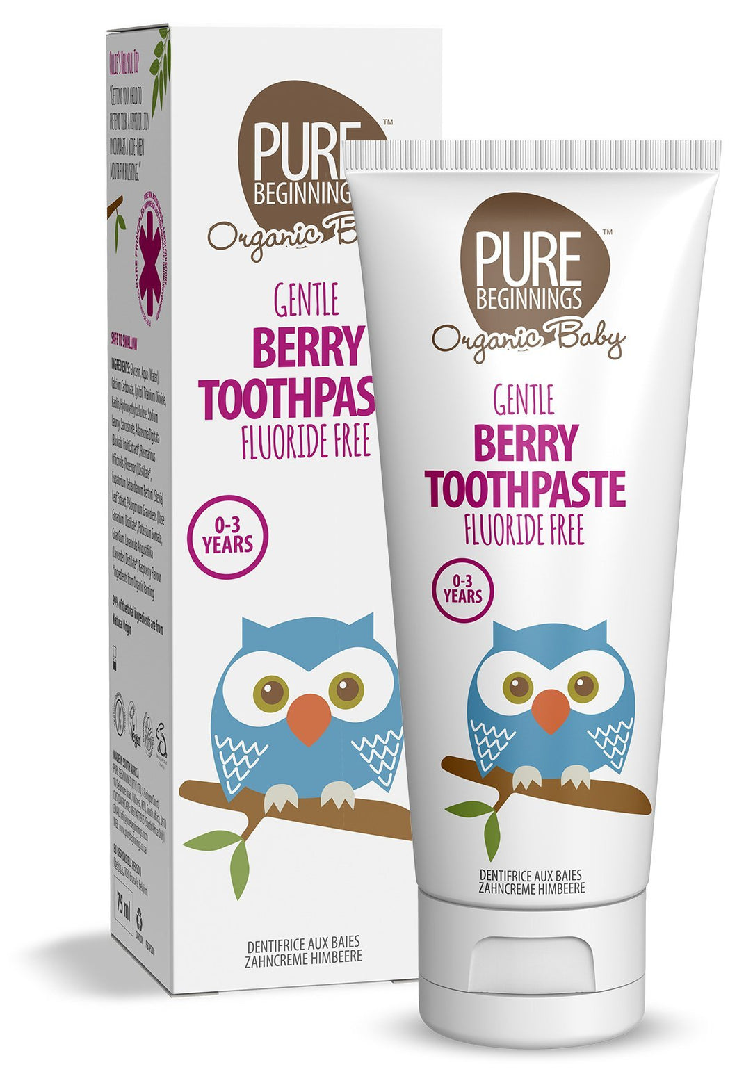 Pure Beginnings - Berry Toothpaste With Xylitol, Fluoride Free (75ml) - SEEDS OF KINDNESS