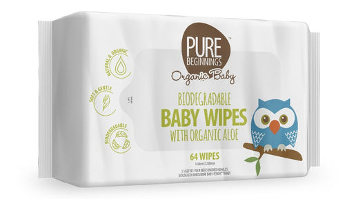 Pure Beginnings - Biodegradable Baby Wipes With Organic Aloe (64 Wipes) - SEEDS OF KINDNESS