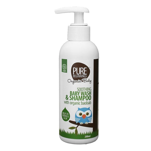 Pure Beginnings - Soothing Baby Wash & Shampoo With Organic Baobab (200ml) - SEEDS OF KINDNESS