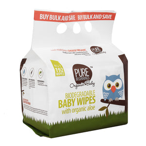 Pure Beginnings - Triple Pack – Biodegradable Baby Wipes With Organic Aloe (192 Wipes) - SEEDS OF KINDNESS