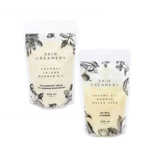 Skin Creamery Refill Bundle - Everyday Cream & Oil Milk Cleanser 200ml Refills - SEEDS OF KINDNESS