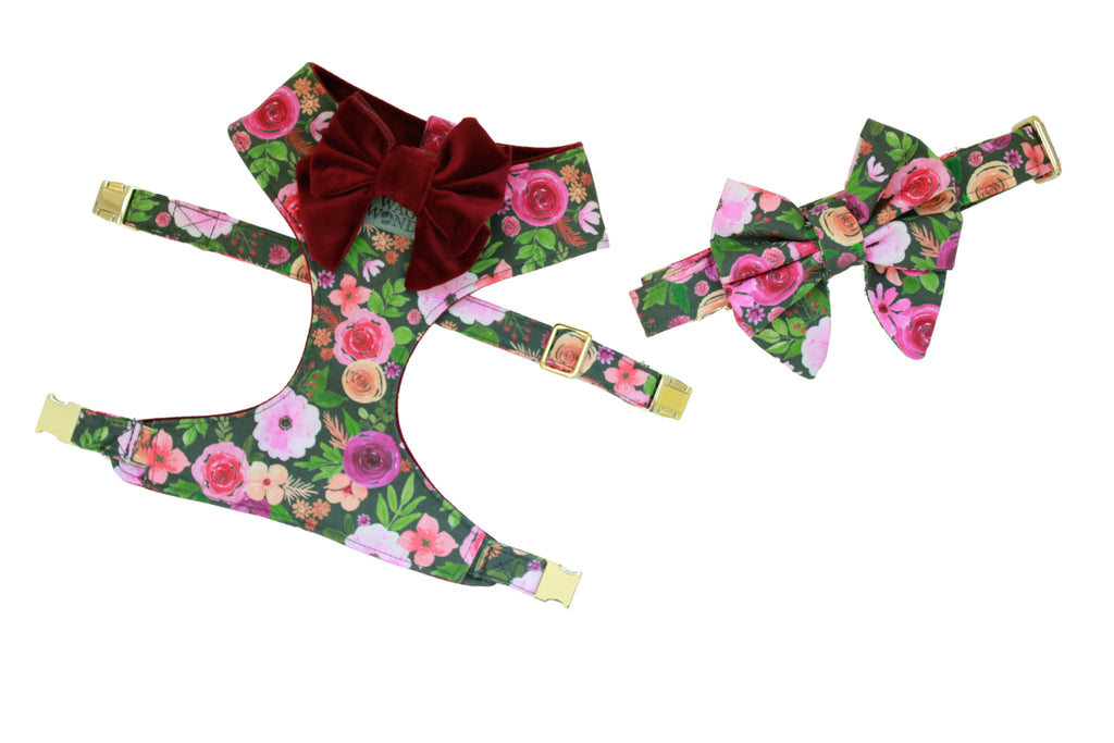 Floral print dog harness, dog collar, dog bow and wine velvet dog bow laid out