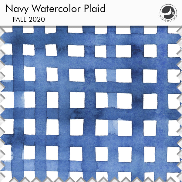 Navy Watercolor Plaid Fabric Sample from Fall 2020