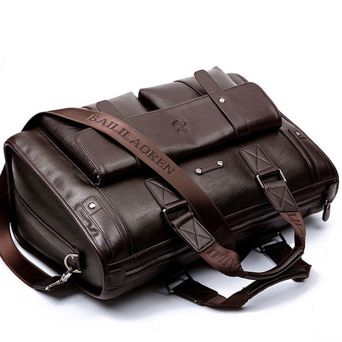 Large Capacity Men Leather Brown Briefcase Computer Bags
