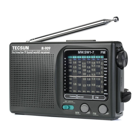 2019 Newly Tecsun R-909 R909 Radio FM / MW / SW 9 Band Word Receiver Portable Radio tecsun R909 Stereo radio convenient radio - techessentialstoday