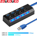 USB Hub 3.0 4/7 Port USB 2.0 Hub Splitter With ON/OFF Switch Multi USB C Hab High Speed 5Gbps For PC Computer Accessories - techessentialstoday