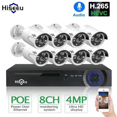 H.265 8CH 4MP POE Security Camera System Kit Audio Record IP Camera IR Outdoor Waterproof CCTV Video Surveillance NVR Set - techessentialstoday