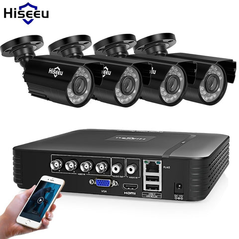 Home Security Cameras System Video Surveillance Kit CCTV 4CH 720P 4PCS Outdoor AHD Security Camera System - techessentialstoday