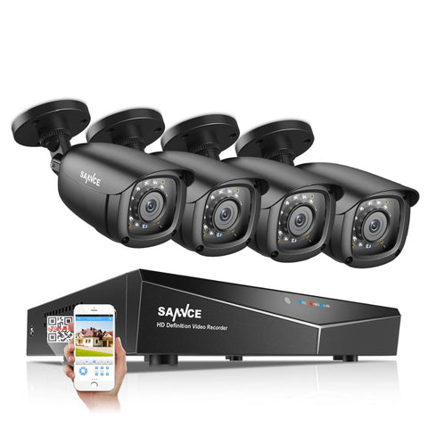 SANNCE 4CH 5-IN-1 DVR 1080P Outdoor Weatherproof 2/4 PCS Security Camera Day/Night CCTV - techessentialstoday