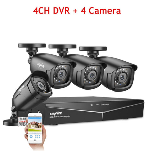 SANNCE 4CH 5-IN-1 DVR 1080P Outdoor Weatherproof 2/4 PCS Security Camera Day/Night CCTV