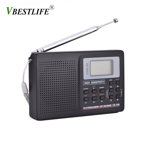 Full Band AM/SW/LW/TV/FM Radio  FM Radio with Timing Alarm Clock  Black - techessentialstoday