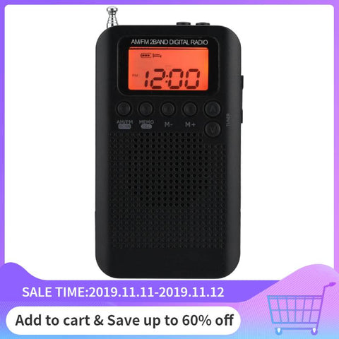 portable am fm digital radio Pocket Mini Digital Tuning Radios Receiver LCD Display Screen Can Store 58 Radio Stations 3.5mm - techessentialstoday
