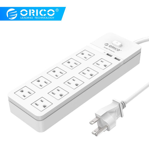 ORICO SPT 6AC 8AC 10AC Port Surge Protection Power Strip US Plug Extension Socket  For Home and Office AC Socket 1.5M Power Cord