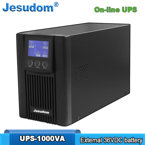 Online UPS 1000VA/800W External 36VDC Batteries Bank Pure Sine Wave Uninterruptible Power Supply