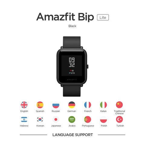 Original Amazfit Bip Lite Global Version Smart Sports Watch Long Battery Life 3ATM Smartwatch For Android IOS Phone - techessentialstoday