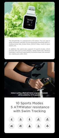 Global Amazfit Bip S 5ATM Smartwatch - techessentialstoday