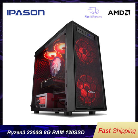 IPASON A3 mini-Gaming PC AMD Ryzen 3 2200G