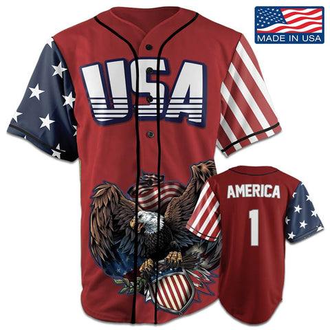 Image of USA Patriotic™ Jersey - America #1 - Red (Small-5XL)