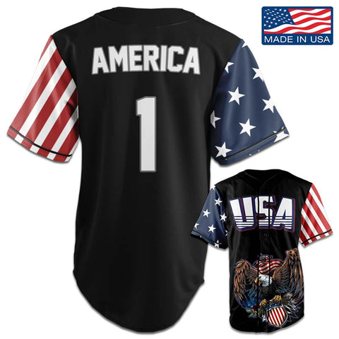 Image of USA Patriotic™ Jersey - America #1 - Black (Small-5XL)