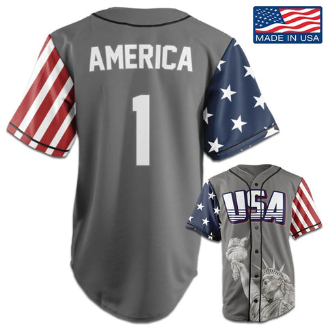 USA Freedom™ Jersey - America #1 - Grey (Small-5XL)