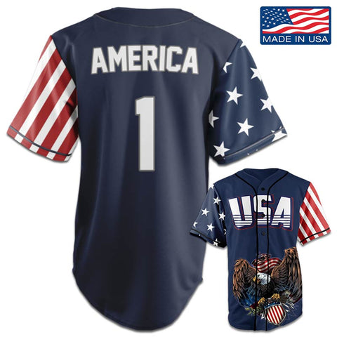 Image of USA Patriotic™ Jersey - America #1 - Navy (Small-5XL)