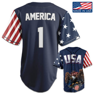 USA Patriotic™ Jersey - America #1 - Navy (Small-5XL)