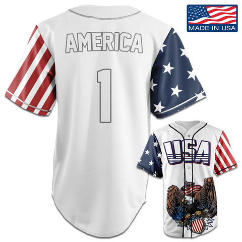 Image of USA Patriotic™ Jersey - America #1 - White (Small-5XL)