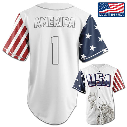 USA Freedom™ Jersey - America #1 - White (Small-5XL)