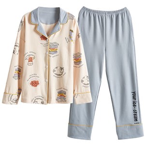 BZEL Hot Sale Autumn Winter Sleepwear Cotton Ladies Pajamas Set Long Sleeves+Pans Underwear Lovely Nightwear Pijama Pyjama M-4XL
