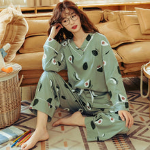 Load image into Gallery viewer, BZEL Women's Pajamas Sets Plus Size Femme Nighty Casual Homewear Loungewear Cotton Sleepwear Cartoon V-Neck Pijama Pyjamas M-3XL