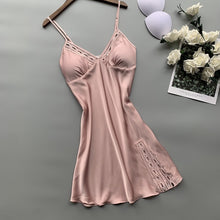 Load image into Gallery viewer, Lisacmvpnel Spring New Sexy Camisole Pajamas Woman Robe Set Ice Silk Long Sleeve Pajamas 2 Pcs Hollow Fashion Sleepwear