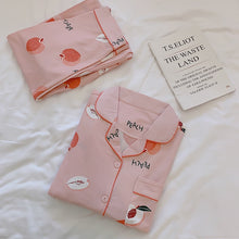 Load image into Gallery viewer, 2019 Women Pajamas Sets with Pants Long Sleeve Turn-down Collar with Pocket Pyjama Cute Cartoon Button Top+Pants Pijama