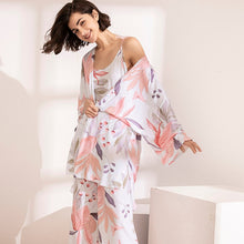 Load image into Gallery viewer, HOT SELLING 3Pcs Soft Pajama Set For SPRING & FALL Ladies Sleepwear Floral Printed  Pink Leaves Cardigan+Camisole+Pants Homewear