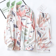Load image into Gallery viewer, Autumn New Ladies Pajamas Set Floral Printed Full Cotton Fresh Style Sleepwear Set Women Turn-down Collar Female Casual Homewear