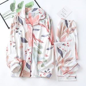 Autumn New Ladies Pajamas Set Floral Printed Full Cotton Fresh Style Sleepwear Set Women Turn-down Collar Female Casual Homewear