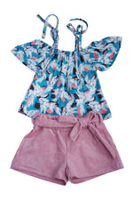 Girls Geometric Feathers 2-Piece Set