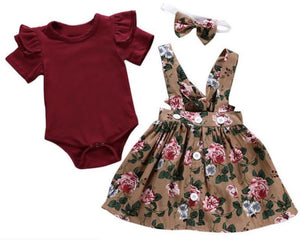 Girls Bodysuit & Floral Skirtall Set