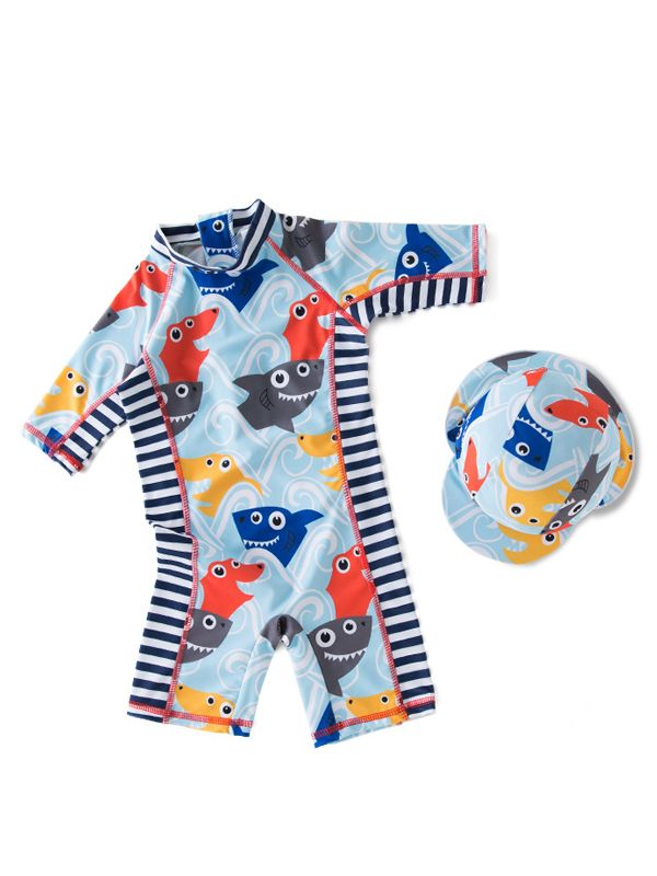 Boys Shark & Stripes Swimsuit Set