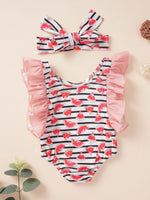 Girls Watermelon & Stripes Swimsuit Set