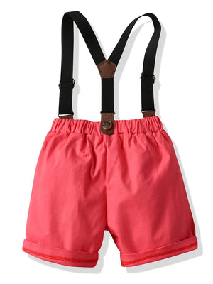Boys Shirt & Suspender Shorts Set