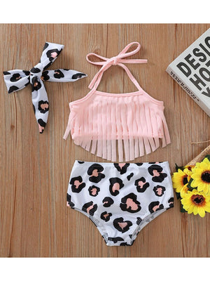 Girls Leopard Print Swimsuit Set