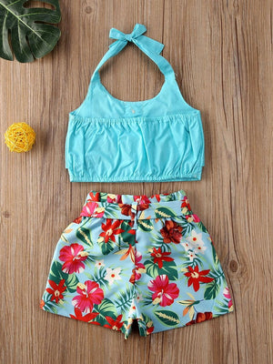 Girls Green Top & Flower Shorts Set