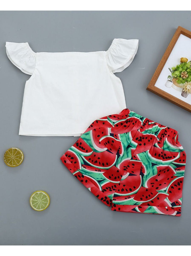 Girls White Top & Watermelon Shorts Set