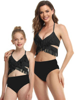 Black Fringe Mommy and Me Swim Sets