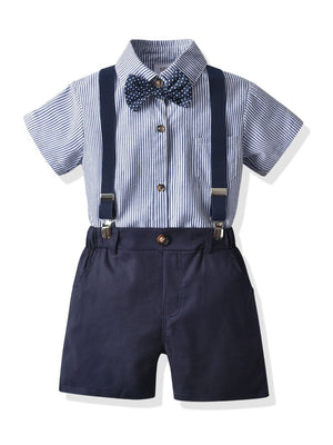 Boys Striped Shirt & Suspender Shorts Set