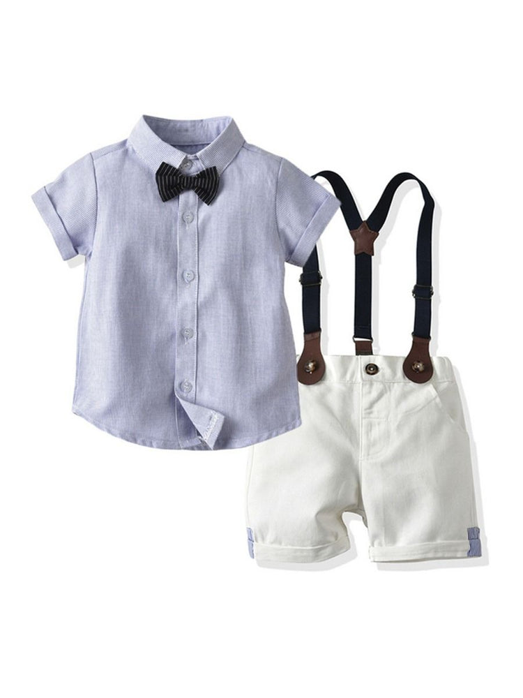 Boys Pinstripe Shirt & Suspender Shorts Set