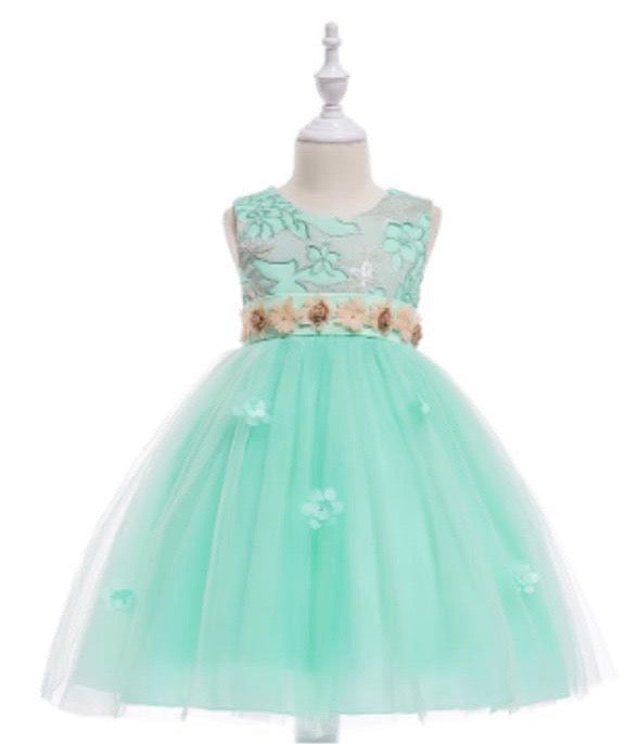 Girls Aqua Floral Tulle Dress